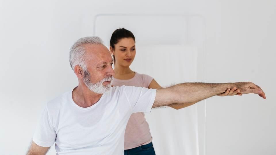Man lifting arm
